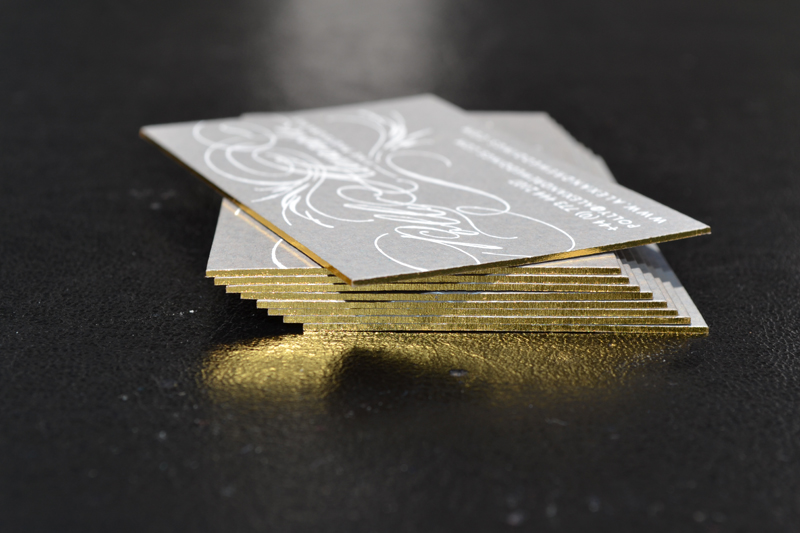 Gilt edged business cards bespoke printed stationery brown cards with white print gold edges reheart Images