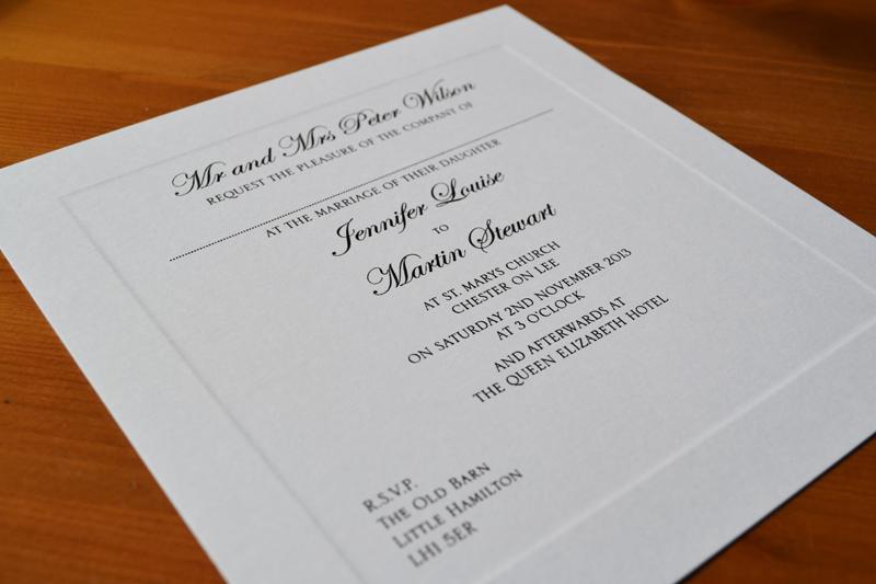 plate sunk wedding invitations bespoke printed stationery