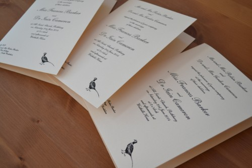 Traditional folded wedding invitations